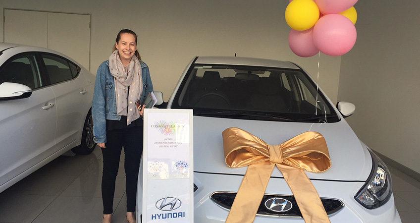 Happy Brisbane Car Broker's customer Jacinta after she purchased a new Hyundai 130
